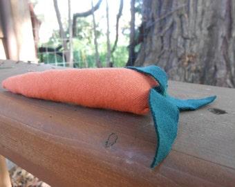 Orange Organic Carrot Toy/ Organic and Recycled Cotton Stuffed Carrot/ Fun Fake Vegetable