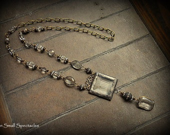 SALE:  ORIGINAL Soldered Filigree Glass Bevel© and Vintage Brass Channel Lucite Assemblage Necklace