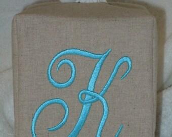 """Tissue Box Cover - Monogrammed Essex Natural Linen Tissue Cover Elegant  Lettering """"K"""""""