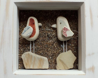 Scottish Sea Pottery Birds Picture - 3D Art Handmade in Scotland - Bird Lovers Gift - Birdwatcher Gifts - Wedding Present - Anniversary Gift
