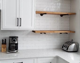"""24"""" Rustic Industrial Wood Pipe Shelf   Industrial pipe shelving   Pipe shelves   Pipe shelving   Floating shelf   Rustic shelf"""