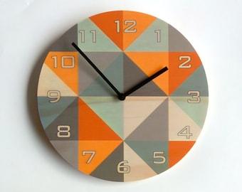 Objectify Grid Orange-Grey Plywood Wall Clock With Numerals - Medium Size