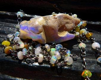 Opal necklace   Australian opal necklace    Raw opal necklace   Boho necklace   Rough opal necklace   Opal birthstone necklace