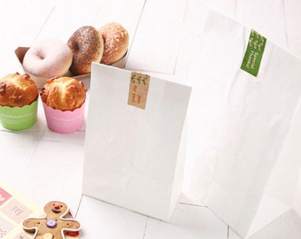 50pcs White paper bags, paper bags, gift bags, bakery bags, small white paper bags, white paper favor bags, white, paper bags