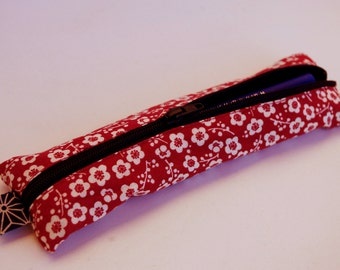 Red Japanese fabric pencil case