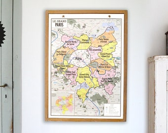 THE PARIS - style vintage school wall map