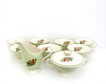 Vintage Fine China tea or coffee set, Romance Rose Fine Bone China. 10-Pcs, antique English, mint green