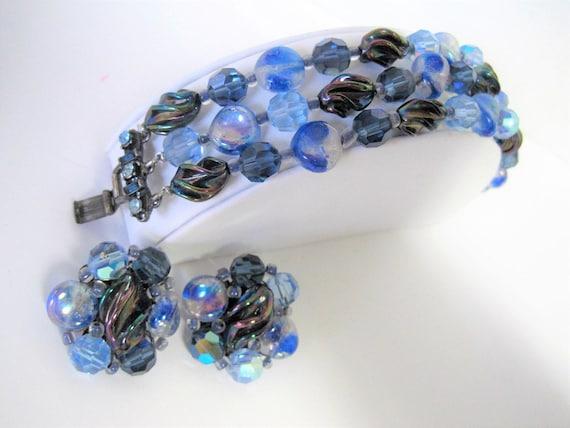 Blue Art Glass Bracelet Earrings, Art Glass Lampwork, Rhinestones Clasp, Triple Strand