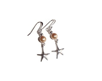 Beach Pearl Earrings. Starfish Earrings. Wedding Jewelry BE37