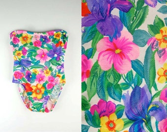 Vintage Floral Colorful Strapless Swimsuit