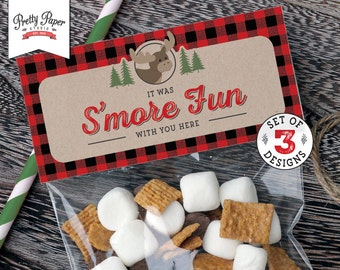 Treat Bag Toppers -Buffalo Plaid Woodland // INSTANT DOWNLOAD // Lumberjack Birthday Party // Fox Moose Bear // Favor Bags // Printable BP06