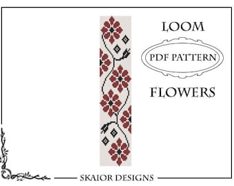Loom Bead Pattern Flower Bracelet Square Stitch Pattern Daisy Loom Pattern Tribal Seed Beads Beading Pattern Red Blossom Bead Weaving PDF