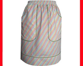 Cotton skirt with blue, green, red and orange stripes