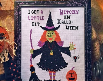 NEW! INSTANT DOWNLOAD A Little Witchy PdF cross stitch patterns by Calico Confectionery at cottageneedle.com Halloween October broomstick