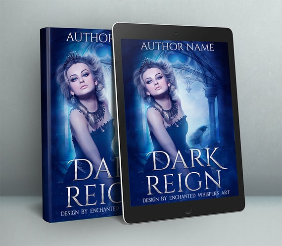 premade fantasy book cover with dark queen and crow
