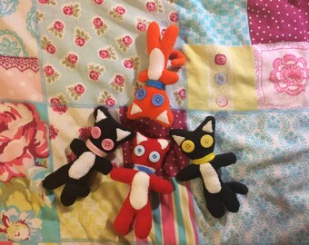 Kitty Buttons Plushie; Made-to-Order