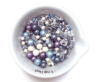 Dappled Sky Mix Natural Sprinkles Suitable for Vegans Gluten Dairy Free Mixed Silver White Blue  Pearls Strands Jimmies Cup Cake Baking Gift