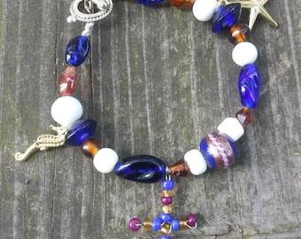 Nautical Religious Wire Beaded Bracelet