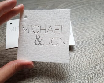 500 Custom letterpress hang tags; square letterpress tags; hole punching, die cutting, thick card stock, one ink color