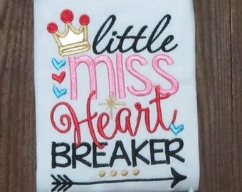 Little Miss Heart Breaker applique, Valentines Day Embroidery, Embroidery saying, applique heart, socuteappliques, cupid embroidery