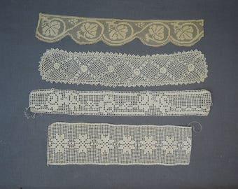4  Handmade Antique Lace Trims,  Victorian Edwardian Lace Crochet, Vintage 1800s 1900s