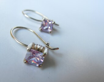 Sterling Silver and Amethyst Crystal Dangle Earrings   1552B
