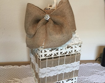 Wedding Card Box, Rustic Money Card Holder, Bridal Shower, Barn Wedding Decor, Burlap Wedding, Money Box, Wedding Bird Cage, Wedding Decor