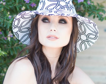 Sun Hat, Wide Brim Hat White & Black,  Floppy Hat, Travel Hat, Packable Hat, Cotton Summer Hat
