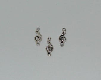 3 charms 20x8mm antique silver music note