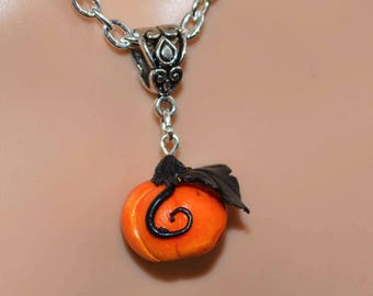 Pumpkin Patch Gothic Necklace - Hand Sculpted Polymer Clay Pendant.  To celebrate Halloween/Samhain, or Thanksgiving.