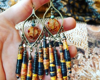 Golden Sun and Shadows Landscape Nature Book Paper Bead Chandelier Earrings