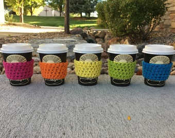 Reusable Neon Coffee Cup Cozy, Mug Cozy, Java Jackets, 100% USA Cotton Yarn, Coffee Sleeve, Colorful, Rainbow, Handmade