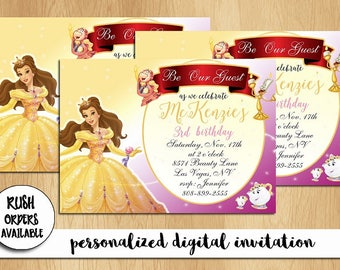 Beauty and The Beast Birthday Party Invitation / Princess Belle Invitation / Printable Digital File / DIY Invitation / Personalized / Custom