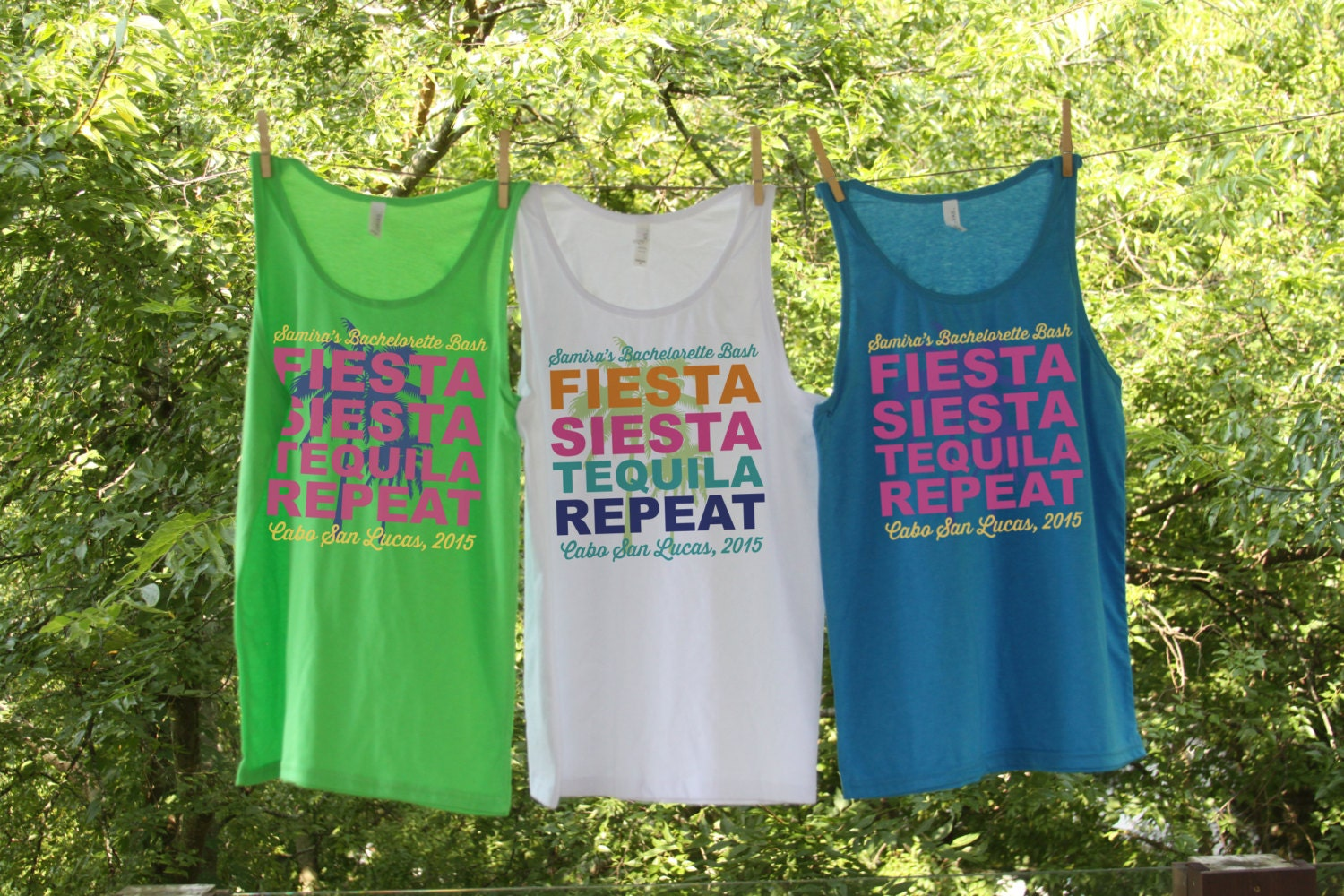 Fiesta Siesta Tequila Repeat // Bachelorette party shirts neon