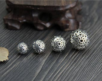1piece-12mm/14mm Sterling Silver Bead,Sterling Silver spacer bead,Hollow flower beads, Flower spacer bead,Silver Flower beads Y0372