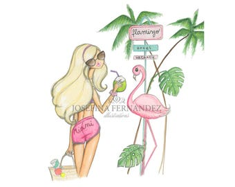 "Fashion illustration print, ""Ocean Drive"",Fashion sketch art,Fashion art print,Fashion illustration sketch,flamingo art watercolor,Miami art"