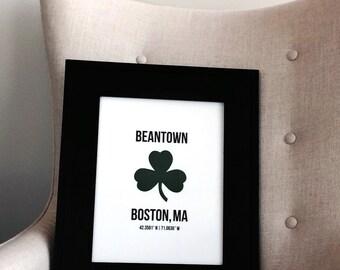 "10"" x 13"" Boston Letterpress Wall Art"
