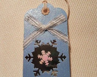 Christmas Snowflake Gift Tags Large Handmade Xmas Giftwrap Pack of 5.
