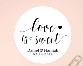 Love is Sweet Stickers, Wedding Favors, Wedding Favor Stickers, Custom Stickers, Wedding Stickers for Favor, Thank You Sticker, SET OF 20