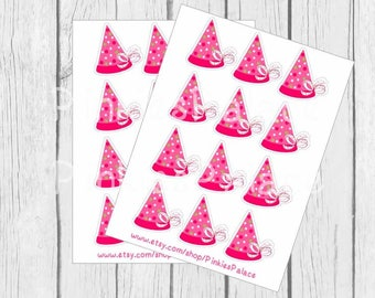 Birthday Hat Stickers Envelope Seals Pink Quantity 24 SES399