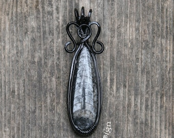 Orthoceras Fossil Gemstone Cabochon Pendant Necklace Black Wire Wrapped Teardrop