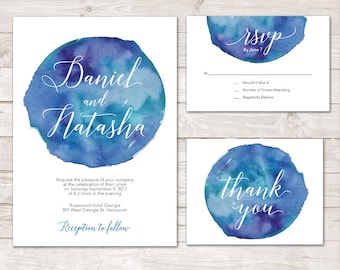 Blue Wedding Invitation, Printable Wedding Invitation, Invitation set, Blue Watercolor wedding Invitation suite, Watercolor Wedding invite