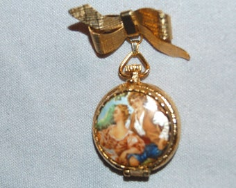 Perfume Cameo Brooch, Dangle Couple Bow, Solid Perfume Brooch, Vintage Old Jewelry