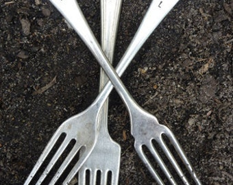 Vintage Silverware Fork Garden Markers Set Herb (doubles as Weeding Forks)