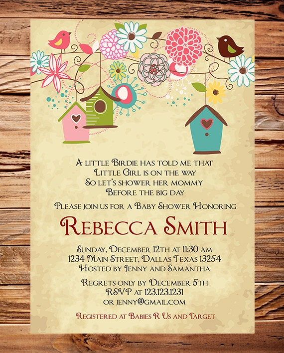 Items similar to baby shower invitation bird houses baby shower items similar to baby shower invitation bird houses baby shower invitation boy girl vintage baby shower invite birds brown pink 1057 on etsy filmwisefo Image collections