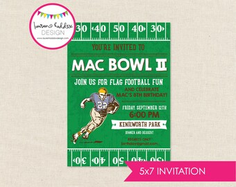 Football Birthday Invitation, Football Birthday, Flag Football Birthday, Football Printables, Football Decorations, Lauren Haddox Designs