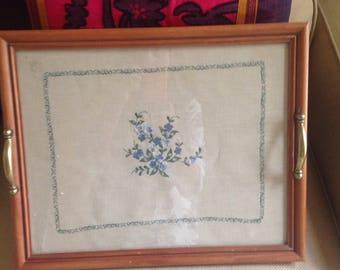 Vintage tray embroidered