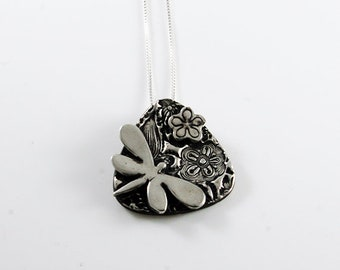 Dragonfly in Flowers Pendant