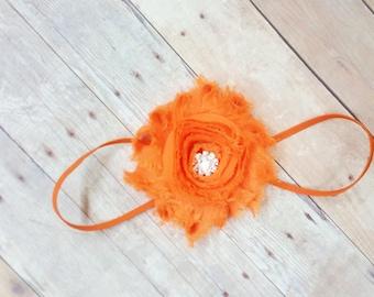 Orange Headband, Orange Headband Baby, Shabby CHic Baby Girl Headband, Skinny Headband, Flower Headbands For Infants, Toddler Girl Headband