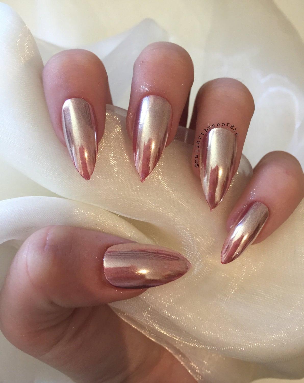 Rose gold stiletto chrome false nails